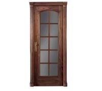 Шпонированная дверь Master LUVIPOL 595 Американский орех под стекло